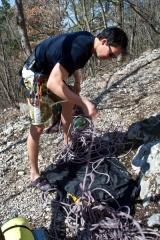 Priprava na prvo plezanje