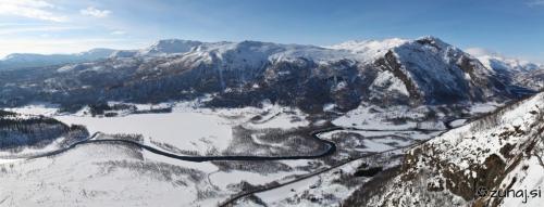 Panoramic view from Mureklove icefall, Hemsedal