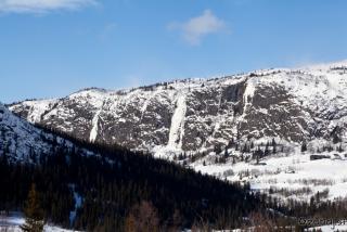 Prvi pogled na slapove v Stavedalen