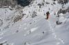Sneg počasi prekriva skale